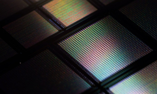"""A close-up view of a new neuromorphic """"brain-on-a-chip."""""""